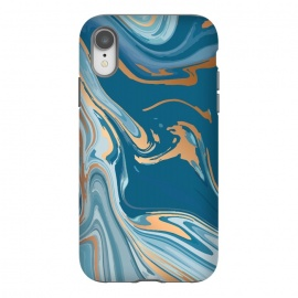 iPhone Xr  Liquid Blue Marble and Gold 014 by Jelena Obradovic