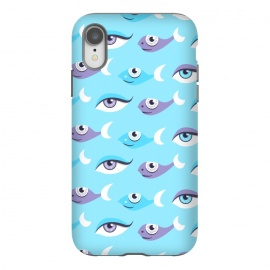 iPhone Xr  Pattern of purple and blue eyes and fish in sea by Boriana Giormova (eyes,blue eyes,fish,eye,pattern,fun,pretty,decorative,whimsical,feminine,beautiful,cartoon)
