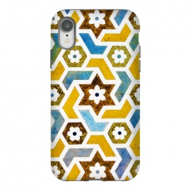 iPhone Xr  Moroccan Bliss by Uma Prabhakar Gokhale (graphic, pattern, morocco, moroccan, exotic, tiles, geometrical, indian, yellow, bright, teal, blue, floral, oct17cb)