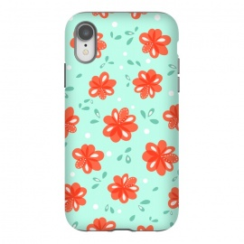 iPhone Xr  Cheerful Decorative Red Flowers Pattern by