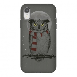 iPhone Xr  Winter owl by Balazs Solti (owl,bird,drawing,winter,night,moon)