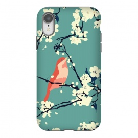 iPhone Xr  Bird and Blossom by Zoe Charlotte (bird,cherry blossom, tree, spring,aqua,blossom,floral pattern,songbird,lovebird,japanese)