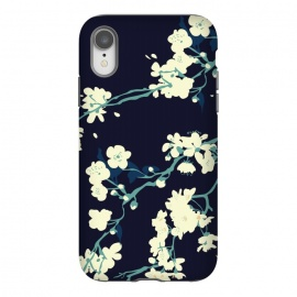 iPhone Xr  Cherry Blossoms by Zoe Charlotte (cherry blossom, spring,sakura,floral pattern,dark floral,navy,navy blue,aqua,blossom tree,tree,japanese)