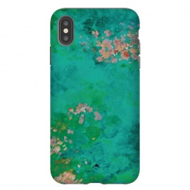 iPhone Xs Max  Impressionist Lake by Zoe Charlotte (impressionist,impressionistic,lake,water,waterlilies,aqua,turquoise,pond,paint,painted,hand painted,abstract painting,monet,artwork,original artwork)