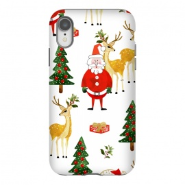 iPhone Xr  Always Christmas by Uma Prabhakar Gokhale (watercolor, pattern, santa, santa claus, xmas, christmas, holidays, new years, winter, celebration, family, december, reindeer, christmas tree, gift ideas, red, green)
