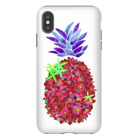 iPhone Xs Max  Pineapple Punch by Amaya Brydon (pineapple,watercolor,floral,orchids,flowers,botanical,fruit)
