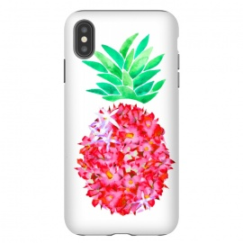 iPhone Xs Max  Pineapple Punch Blush by Amaya Brydon (floral,pineapple,watercolor,flowers,illustration,botanical)