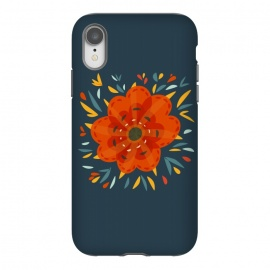 iPhone Xr  Decorative Whimsical Orange Flower by