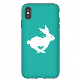 iPhone Xs Max  Run Rabbit Green by Coffee Man (rabbit,wolf,bird,animal,animals,pet,pets,creative,negative space,fun,funny,wild,animal lover)