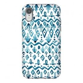 iPhone Xr  Mya Watercolor - White by  (watercolor,watercolor pattern,watercolor stripe,painting,watercolor painting,pattern,patterns,geometric,geo,blue,white,global,bohoi,bohemian)