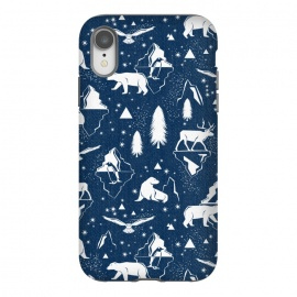 iPhone Xr  Arctic Circle - Navy Blue by Heather Dutton (arctic,arctic circle,arctic animals,animal,animals,polar bear,seal,penguin,wolf,owl,deer,winter,snow,iceberg,mountain,mountains,nature,nature inspired,blue,navy,navy blue,trees,pattern,patterns,snowfall)