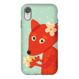 iPhone Xr  Cute Fox With Flowers by Boriana Giormova (fox, animal, face, cartoon, illustration, art, vector, cute, fox head, fox cartoon, fox animal, fox face, fox cute, fox art, fox illustration, wildlife, foxy, adorable, character, lovely, cute fox, cheerful, orange fox, vector fox, color, kawaii, foxes, cartoon fox, pretty, sweet)