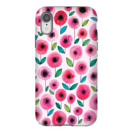 iPhone Xr  Pink Poppy by Kimrhi Studios (watercolor,flowers,floral,nature,leaves,poppy)