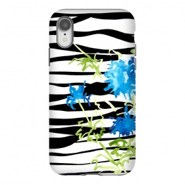 iPhone Xr  WATERCOLOR STRIPES & FLORALS BLACK by ALIPRINTS Design Studio