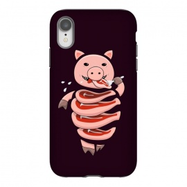 iPhone Xr  Dark Hungry Self Eating Cut In Steaks Pig by Boriana Giormova (gluttony, gluttonous, pig, pigs, eat, eating, meat, carnivore, vector, animal, animals, stupid, stupid pig, character, funny, humor, steak, steaks, food, cannibal, cannibalism, slice, slices, weird, odd, strange, dark, cool, pig art, pig illustration, vector pig, cool pig, strange pig, piggy, piggie)