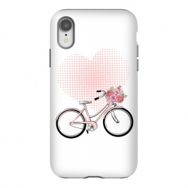 iPhone Xr  Love Bike by Martina (love,heart,pink,valentine,valentines day,romantic,flowers,bike,stylish,vintage,cute,illustration)