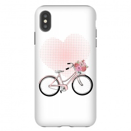 iPhone Xs Max  Love Bike by Martina (love,heart,pink,valentine,valentines day,romantic,flowers,bike,stylish,vintage,cute,illustration)