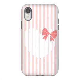 iPhone Xr  Heart Stripes by  (love,heart,sweet,pink,modern,vintage,retro,bow,valentine,valentines day,stylish,feminine,stripes)