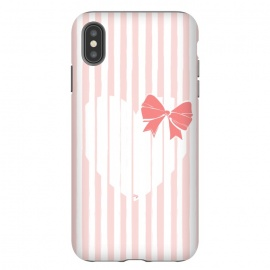 iPhone Xs Max  Heart Stripes by Martina (love,heart,sweet,pink,modern,vintage,retro,bow,valentine,valentines day,stylish,feminine,stripes)