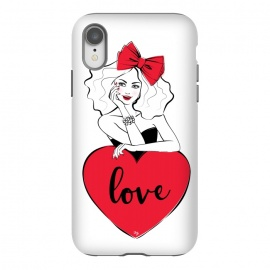 iPhone Xr  Lady Love by Martina (love,heart,valentine,valentines day,typography,girl,woman,stylish,modern,cute,red,bow,fashion,feminine,girly,illustration)