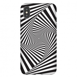 iPhone Xs Max  Illusion Hole 2 by  (Texture, Pattern, Geometry, Vector, Digital art, geometric, Minimal, Minimalistic, cover,Black and white, lines, illusion)