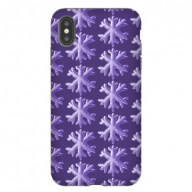 iPhone Xs Max  Ultra Violet Fluffy Snowflake Pattern by Boriana Giormova