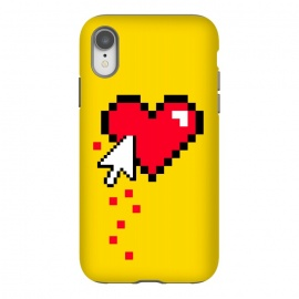iPhone Xr  Broken 8 bits Heart II by  (heart,pixel,love,funny,80's,90's,8 bits,gamer,retro,vintage,retro gamer,geek,nerd,hipster,yellow,bloody)