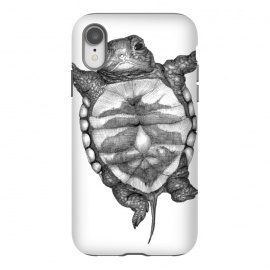 iPhone Xr  Little Baby Turtle  by ECMazur  (baby animal,turtle,animal,nature,wildlife,water animal,black and white,pen drawing)