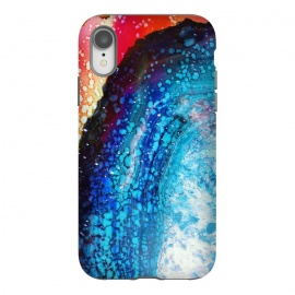 iPhone Xr  Paint splattered marble blue red by Oana