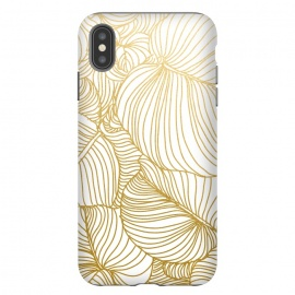 iPhone Xs Max  Wilderness Gold by Uma Prabhakar Gokhale (graphic, pattern, gold, golden, metallic, single color, minimal, leaves, nature, hand drawn, botanical, foliage, flora, exotic, tropical, line art)