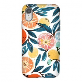 iPhone Xr  Fruit Shower by Uma Prabhakar Gokhale (graphic, pattern, watercolor, fruits, fruit pattern, fresh, delicious, food, tropical, orange, citrus, leaves, blue, orangecoral, yellow, bold, colorful, exotic, botanical)