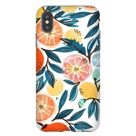 iPhone Xs Max  Fruit Shower by  (graphic, pattern, watercolor, fruits, fruit pattern, fresh, delicious, food, tropical, orange, citrus, leaves, blue, orangecoral, yellow, bold, colorful, exotic, botanical)
