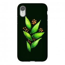 iPhone Xr  Abstract watercolor green plant with orange berries by Boriana Giormova