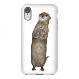 iPhone Xr  Otter and Flowers by ECMazur  (otter,cute animals,flowers,floral,bouquet,valentine's day,mother's day,animal,wildlife,nature)