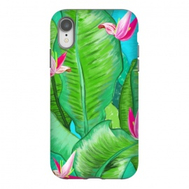 iPhone Xr  Banana Floral by Uma Prabhakar Gokhale (acrylic, tropical, exotic, nature, floral, flowers, lily pond, banana leaves, banana leaf, banana floral, leaves, pink, blue, green)