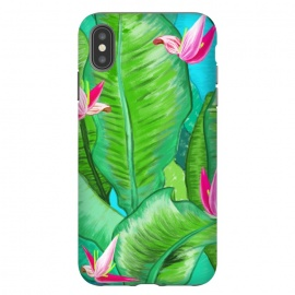 iPhone Xs Max  Banana Floral by Uma Prabhakar Gokhale (acrylic, tropical, exotic, nature, floral, flowers, lily pond, banana leaves, banana leaf, banana floral, leaves, pink, blue, green)