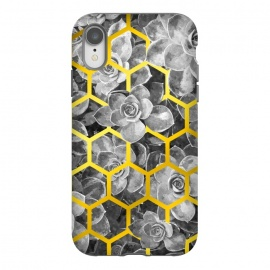 iPhone Xr  Black and White Succulent Gold Geometric by Alemi