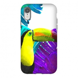 iPhone Xr  Tropical Toucan Palm Leaves by Alemi