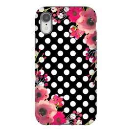 iPhone Xr  Black Polka Dots and Flowers by Alemi