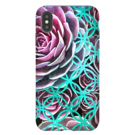 iPhone Xs Max  Purple Cactus Turquoise Circle by Alemi