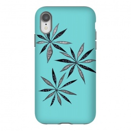 iPhone Xr  Elegant Thin Flowers With Dots And Swirls On Blue by Boriana Giormova