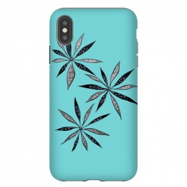 iPhone Xs Max  Elegant Thin Flowers With Dots And Swirls On Blue by Boriana Giormova