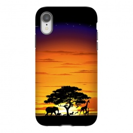 iPhone Xr  Wild Animals on African Savanna Sunset  by BluedarkArt