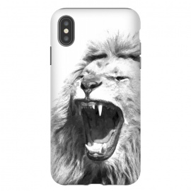 iPhone Xs Max  Black and White Fierce Lion by Alemi