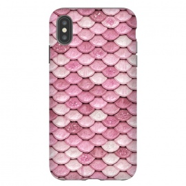 iPhone Xs Max  Rose Gold Pink Metal Mermaid Scales by Utart