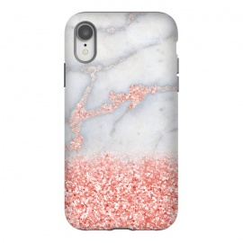 iPhone Xr  Sparkly Pink Rose Gold Glitter Ombre Bohemian Marble by Utart