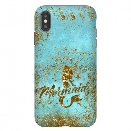 iPhone Xs Max  We all need mermaids - Teal and Gold Glitter Typography  by Utart
