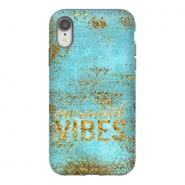 iPhone Xr  Mermaid Vibes - Teal & Gold Glitter Typography by Utart