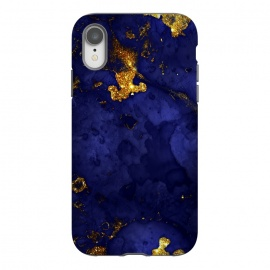 iPhone Xr  Indigo and Gold Ink Marble by