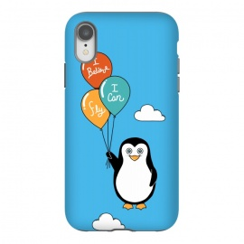 iPhone Xr  Penguin I Believe I Can Fly by Coffee Man (penguin, cute, adorable, kid, kids, children, i believe i can fly, fly, flying, pet, pets, pet lover, animal lover, sky, balloons, fun, funny, humor)